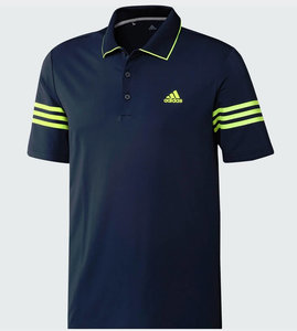 Adidas Ultimate 365 blocked Polo Navy Lime 3 Stripes