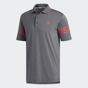 Adidas Ultimate 365 blocked Polo Grijs Rood 3 Stripes