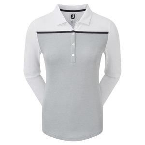 Footjoy Smooth Pique LS Block Grey White Dames Polo